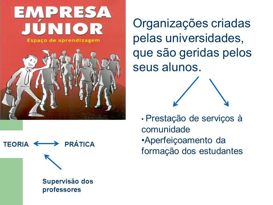 Organizações criadas pelas universidades, que são geridas pelos seus alunos.