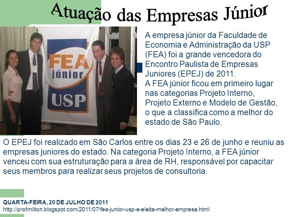 A empresa júnior da Faculdade de Economia e Administração da USP (FEA) foi a grande vencedora do Encontro Paulista de Empresas Juniores (EPEJ) de 2011.