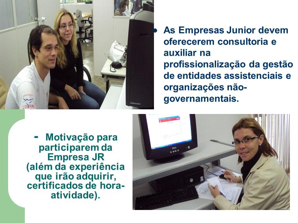 - Motivação para participarem da Empresa JR (além da experiência que irão adquirir, certificados de hora- atividade).
