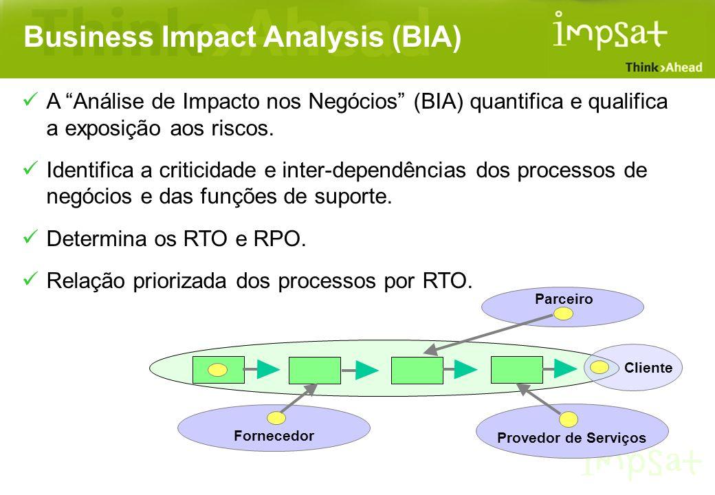 Business Impact Analysis (BIA) A Análise de Impacto nos Negócios (BIA) quantifica e qualifica a exposição aos riscos. Identifica a criticidade e inter