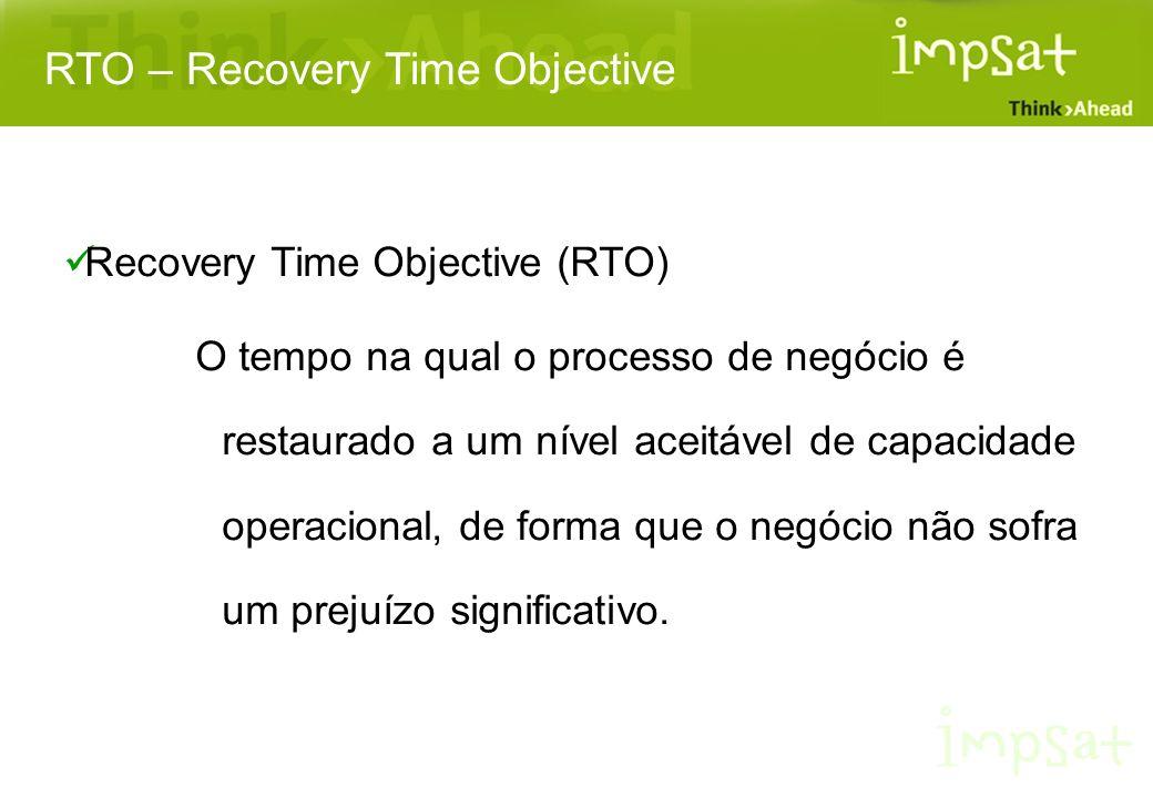Recovery Time Objective (RTO) O tempo na qual o processo de negócio é restaurado a um nível aceitável de capacidade operacional, de forma que o negóci
