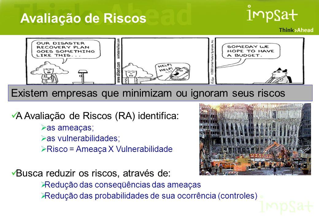 Existem empresas que minimizam ou ignoram seus riscos A Avaliação de Riscos (RA) identifica: as ameaças; as vulnerabilidades; Risco = Ameaça X Vulnera