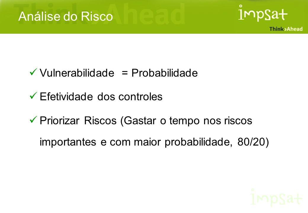 Análise do Risco Vulnerabilidade = Probabilidade Efetividade dos controles Priorizar Riscos (Gastar o tempo nos riscos importantes e com maior probabi