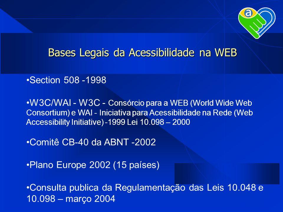 Bases Legais da Acessibilidade na WEB Section 508 -1998 W3C/WAI - W3C - Consórcio para a WEB (World Wide Web Consortium) e WAI - Iniciativa para Acess