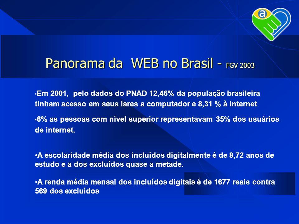 Panorama da WEB no Brasil - FGV 2003 Em 2001, pelo dados do PNAD 12,46% da população brasileira tinham acesso em seus lares a computador e 8,31 % à in