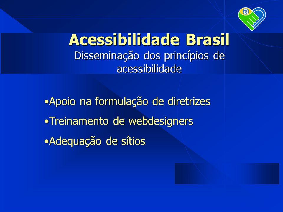Acessibilidade Brasil Disseminação dos princípios de acessibilidade Apoio na formulação de diretrizesApoio na formulação de diretrizes Treinamento de