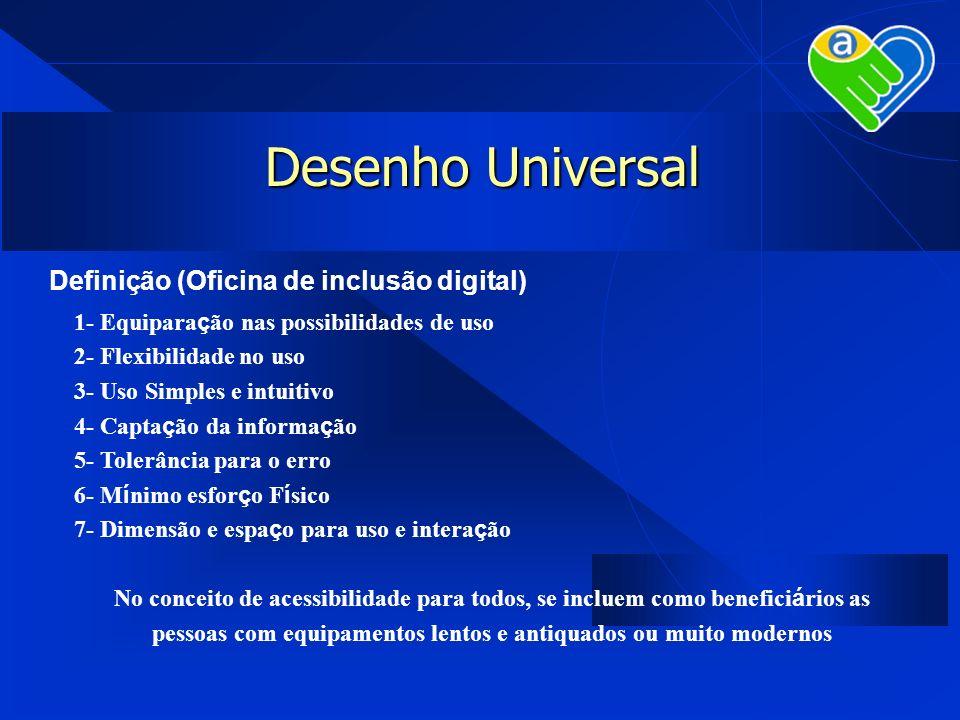 Desenho Universal Definição (Oficina de inclusão digital) 1- Equipara ç ão nas possibilidades de uso 2- Flexibilidade no uso 3- Uso Simples e intuitiv