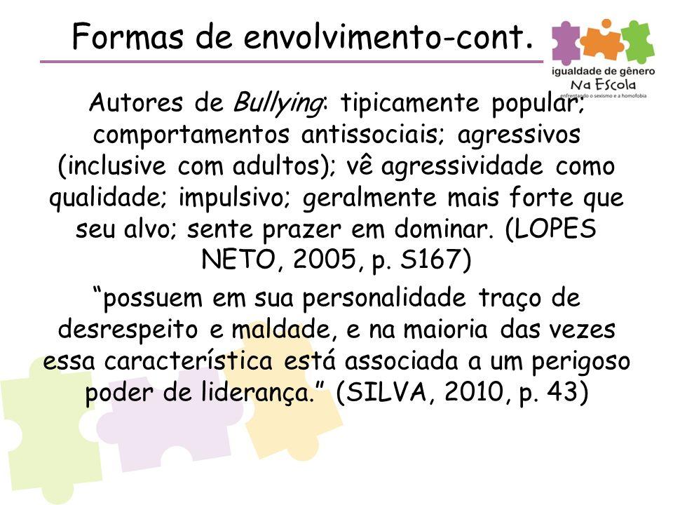 Formas de envolvimento-cont. Autores de Bullying: tipicamente popular; comportamentos antissociais; agressivos (inclusive com adultos); vê agressivida