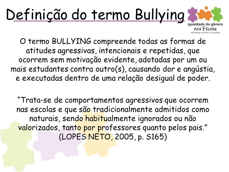Definição do termo Bullying O termo BULLYING compreende todas as formas de atitudes agressivas, intencionais e repetidas, que ocorrem sem motivação evidente, adotadas por um ou mais estudantes contra outro(s), causando dor e angústia, e executadas dentro de uma relação desigual de poder.