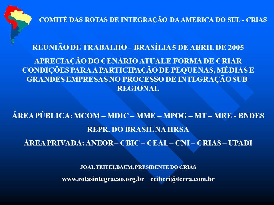 REUNIÃO DE TRABALHO – BRASÍLIA 5 DE ABRIL DE 2005 APRECIAÇÃO DO CENÁRIO ATUAL E FORMA DE CRIAR CONDIÇÕES PARA A PARTICIPAÇÃO DE PEQUENAS, MÉDIAS E GRA