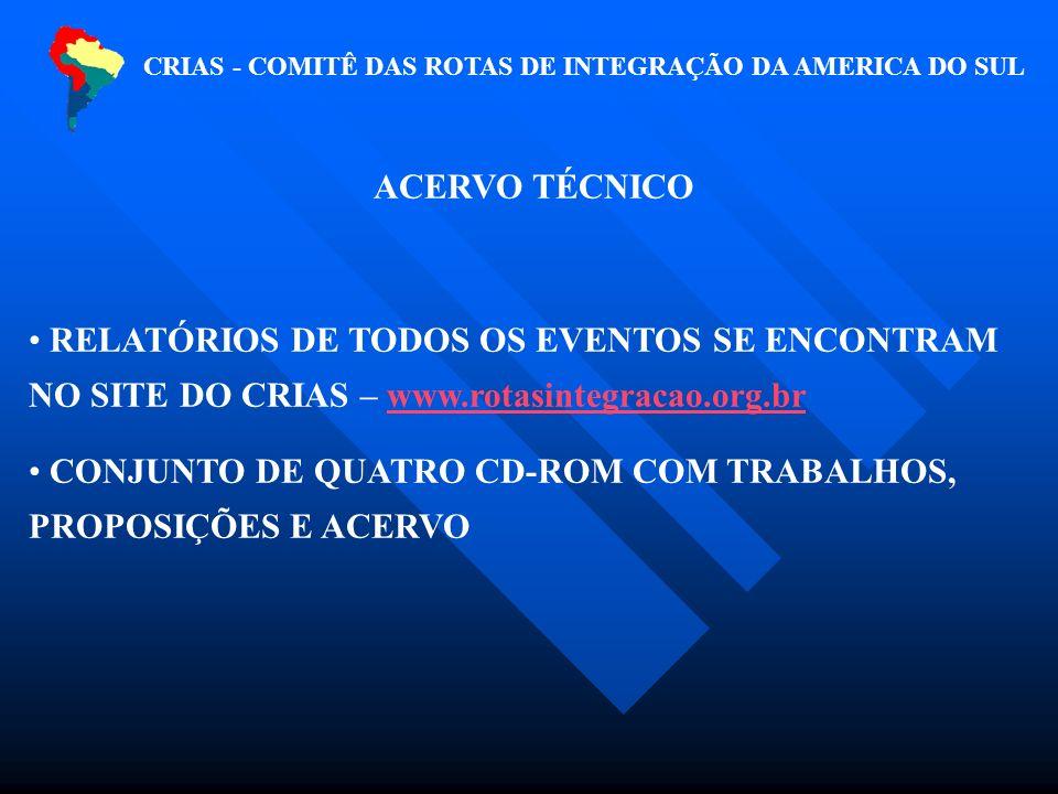 CRIAS - COMITÊ DAS ROTAS DE INTEGRAÇÃO DA AMERICA DO SUL ACERVO TÉCNICO RELATÓRIOS DE TODOS OS EVENTOS SE ENCONTRAM NO SITE DO CRIAS – www.rotasintegracao.org.brwww.rotasintegracao.org.br CONJUNTO DE QUATRO CD-ROM COM TRABALHOS, PROPOSIÇÕES E ACERVO