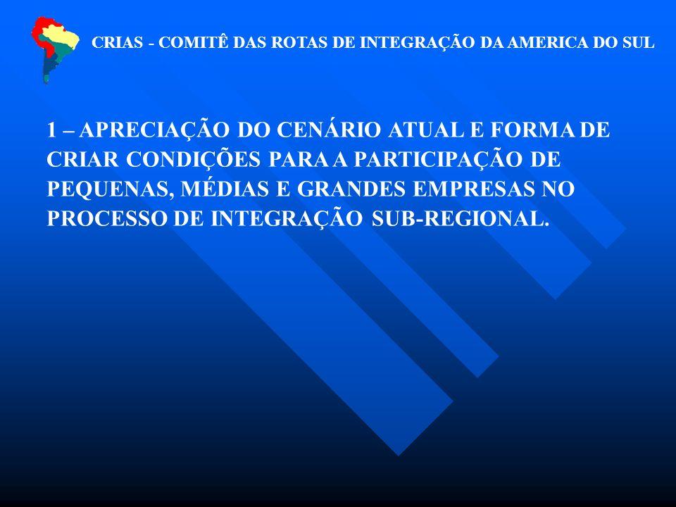 CRIAS - COMITÊ DAS ROTAS DE INTEGRAÇÃO DA AMERICA DO SUL 1 – APRECIAÇÃO DO CENÁRIO ATUAL E FORMA DE CRIAR CONDIÇÕES PARA A PARTICIPAÇÃO DE PEQUENAS, MÉDIAS E GRANDES EMPRESAS NO PROCESSO DE INTEGRAÇÃO SUB-REGIONAL.