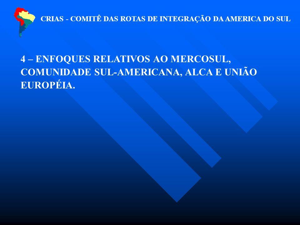 CRIAS - COMITÊ DAS ROTAS DE INTEGRAÇÃO DA AMERICA DO SUL 4 – ENFOQUES RELATIVOS AO MERCOSUL, COMUNIDADE SUL-AMERICANA, ALCA E UNIÃO EUROPÉIA.