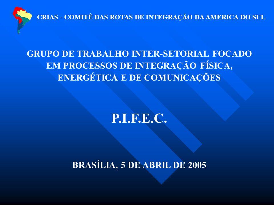 CRIAS - COMITÊ DAS ROTAS DE INTEGRAÇÃO DA AMERICA DO SUL GRUPO DE TRABALHO INTER-SETORIAL FOCADO EM PROCESSOS DE INTEGRAÇÃO FÍSICA, ENERGÉTICA E DE COMUNICAÇÕES P.I.F.E.C.