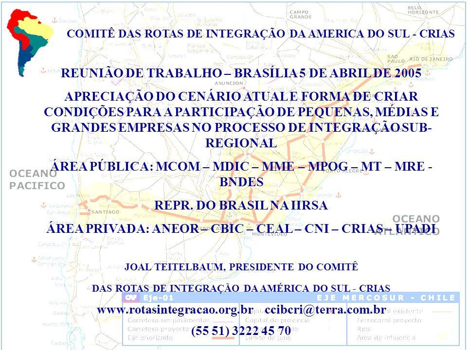 REUNIÃO DE TRABALHO – BRASÍLIA 5 DE ABRIL DE 2005 APRECIAÇÃO DO CENÁRIO ATUAL E FORMA DE CRIAR CONDIÇÕES PARA A PARTICIPAÇÃO DE PEQUENAS, MÉDIAS E GRANDES EMPRESAS NO PROCESSO DE INTEGRAÇÃO SUB- REGIONAL ÁREA PÚBLICA: MCOM – MDIC – MME – MPOG – MT – MRE - BNDES REPR.