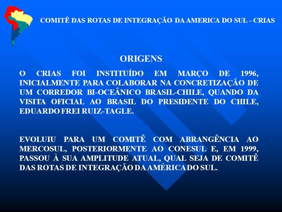 COMITÊ DAS ROTAS DE INTEGRAÇÃO DA AMERICA DO SUL - CRIAS ORIGENS O CRIAS FOI INSTITUÍDO EM MARÇO DE 1996, INICIALMENTE PARA COLABORAR NA CONCRETIZAÇÃO DE UM CORREDOR BI-OCEÂNICO BRASIL-CHILE, QUANDO DA VISITA OFICIAL AO BRASIL DO PRESIDENTE DO CHILE, EDUARDO FREI RUIZ-TAGLE.