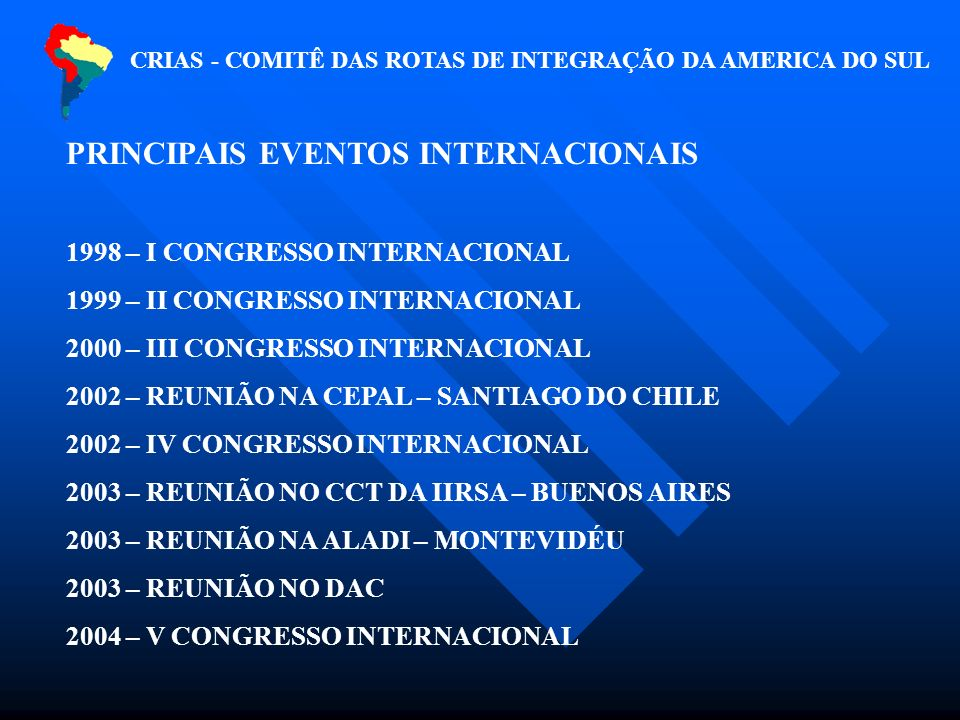 CRIAS - COMITÊ DAS ROTAS DE INTEGRAÇÃO DA AMERICA DO SUL PRINCIPAIS EVENTOS INTERNACIONAIS 1998 – I CONGRESSO INTERNACIONAL 1999 – II CONGRESSO INTERNACIONAL 2000 – III CONGRESSO INTERNACIONAL 2002 – REUNIÃO NA CEPAL – SANTIAGO DO CHILE 2002 – IV CONGRESSO INTERNACIONAL 2003 – REUNIÃO NO CCT DA IIRSA – BUENOS AIRES 2003 – REUNIÃO NA ALADI – MONTEVIDÉU 2003 – REUNIÃO NO DAC 2004 – V CONGRESSO INTERNACIONAL