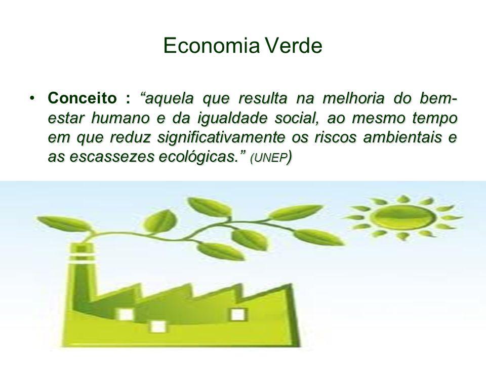 Economia Verde aquela que resulta na melhoria do bem- estar humano e da igualdade social, ao mesmo tempo em que reduz significativamente os riscos ambientais e as escassezes ecológicas.