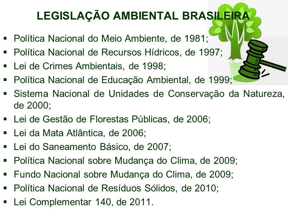 LEGISLAÇÃO AMBIENTAL BRASILEIRA Política Nacional do Meio Ambiente, de 1981; Política Nacional de Recursos Hídricos, de 1997; Lei de Crimes Ambientais, de 1998; Política Nacional de Educação Ambiental, de 1999; Sistema Nacional de Unidades de Conservação da Natureza, de 2000; Lei de Gestão de Florestas Públicas, de 2006; Lei da Mata Atlântica, de 2006; Lei do Saneamento Básico, de 2007; Política Nacional sobre Mudança do Clima, de 2009; Fundo Nacional sobre Mudança do Clima, de 2009; Política Nacional de Resíduos Sólidos, de 2010; Lei Complementar 140, de 2011.
