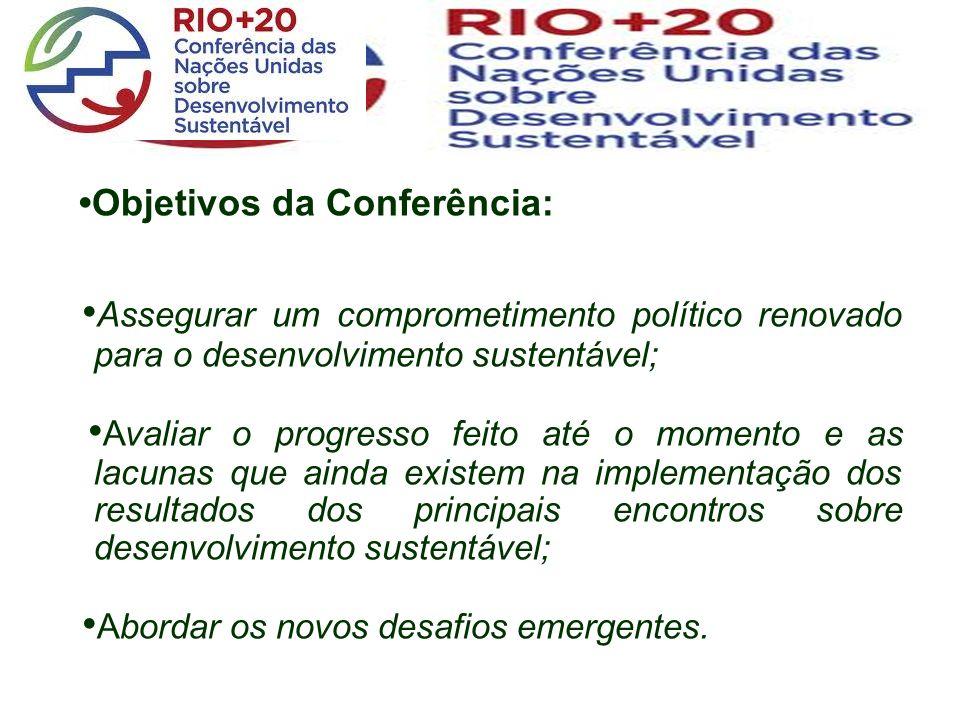Objetivos da Conferência: Assegurar um comprometimento político renovado para o desenvolvimento sustentável; Avaliar o progresso feito até o momento e as lacunas que ainda existem na implementação dos resultados dos principais encontros sobre desenvolvimento sustentável; Abordar os novos desafios emergentes.
