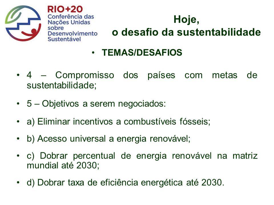 Hoje, o desafio da sustentabilidade TEMAS/DESAFIOS 4 – Compromisso dos países com metas de sustentabilidade; 5 – Objetivos a serem negociados: a) Eliminar incentivos a combustíveis fósseis; b) Acesso universal a energia renovável; c) Dobrar percentual de energia renovável na matriz mundial até 2030; d) Dobrar taxa de eficiência energética até 2030.