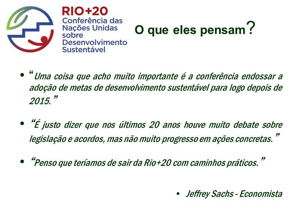 Uma coisa que acho muito importante é a conferência endossar a adoção de metas de desenvolvimento sustentável para logo depois de 2015.