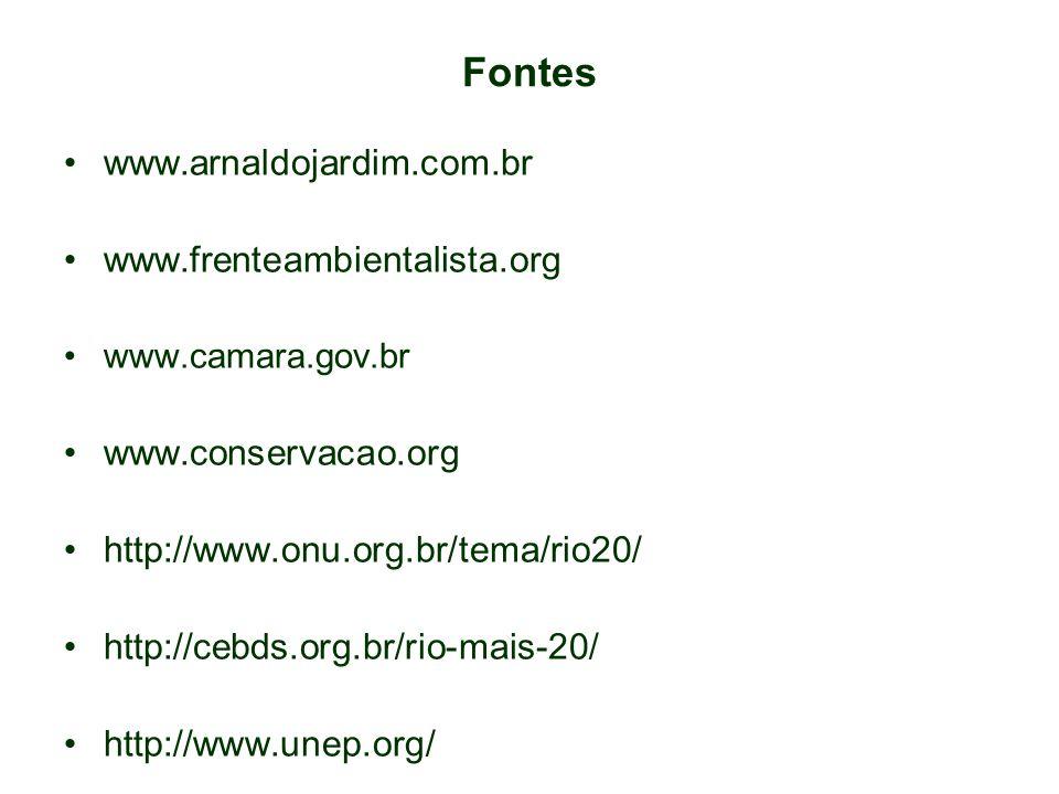 Fontes www.arnaldojardim.com.br www.frenteambientalista.org www.camara.gov.br www.conservacao.org http://www.onu.org.br/tema/rio20/ http://cebds.org.br/rio-mais-20/ http://www.unep.org/