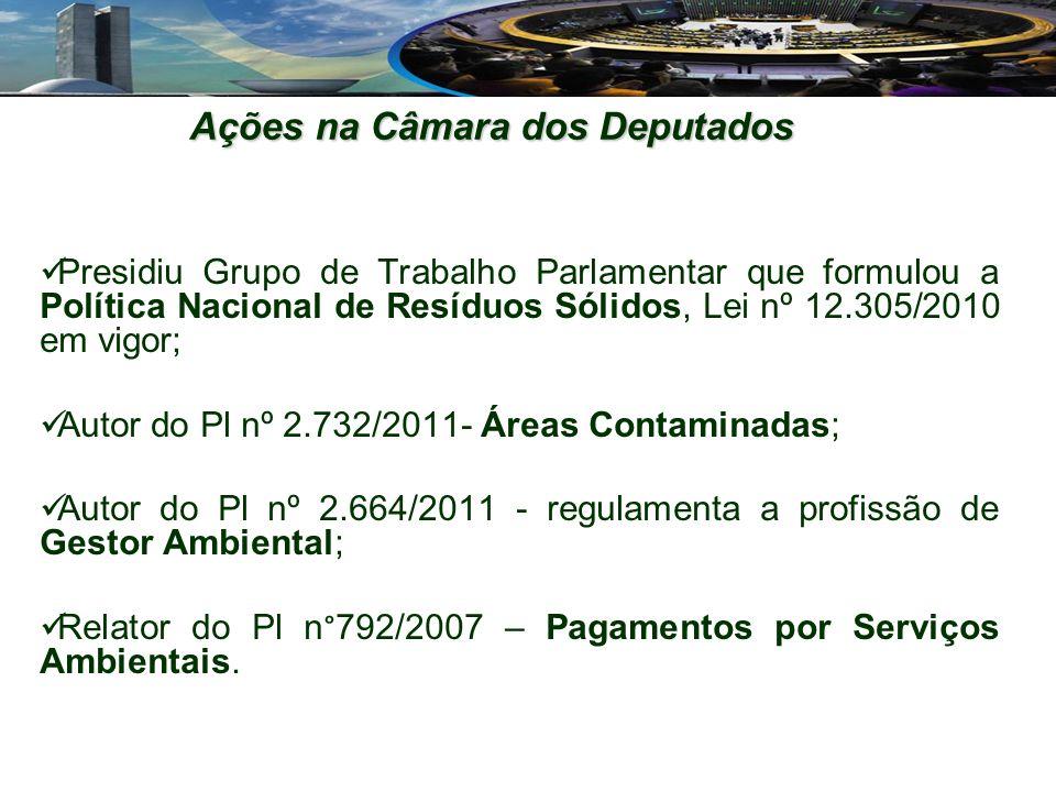 Presidiu Grupo de Trabalho Parlamentar que formulou a Política Nacional de Resíduos Sólidos, Lei nº 12.305/2010 em vigor; Autor do Pl nº 2.732/2011- Áreas Contaminadas; Autor do Pl nº 2.664/2011 - regulamenta a profissão de Gestor Ambiental; Relator do Pl n°792/2007 – Pagamentos por Serviços Ambientais.