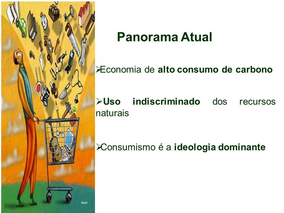 Panorama Atual Consumismo é a ideologia dominante Economia de alto consumo de carbono Uso indiscriminado dos recursos naturais