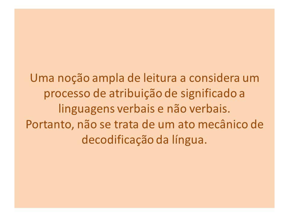 A leitura não se restringe ao texto escrito, precede e vai além da palavra Podemos ler qualquer forma de expressão e atribuir-lhe significado(s) confo