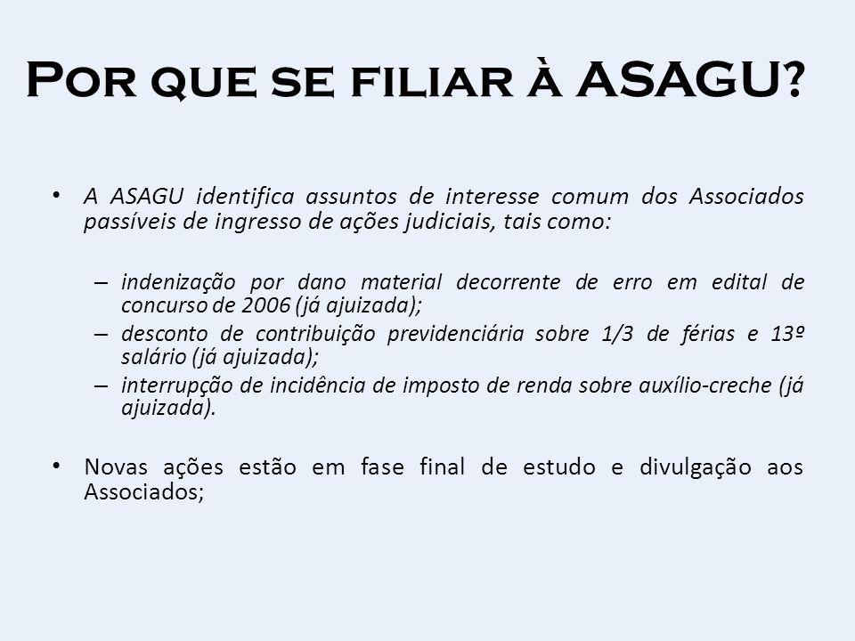 Por que se filiar à ASAGU? A ASAGU identifica assuntos de interesse comum dos Associados passíveis de ingresso de ações judiciais, tais como: – indeni