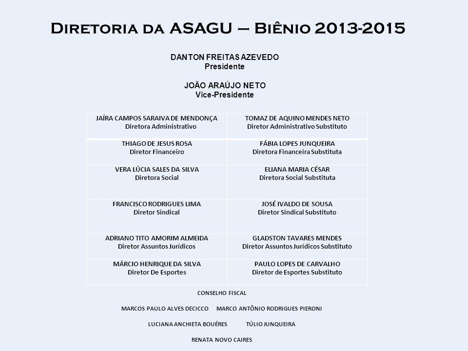 Diretoria da ASAGU – Biênio 2013-2015 JAÍRA CAMPOS SARAIVA DE MENDONÇA Diretora Administrativo TOMAZ DE AQUINO MENDES NETO Diretor Administrativo Subs