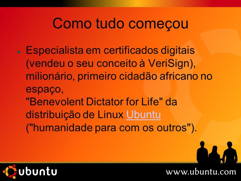 Como tudo começou Especialista em certificados digitais (vendeu o seu conceito à VeriSign), milionário, primeiro cidadão africano no espaço, Benevolent Dictator for Life da distribuição de Linux Ubuntu ( humanidade para com os outros ).Ubuntu