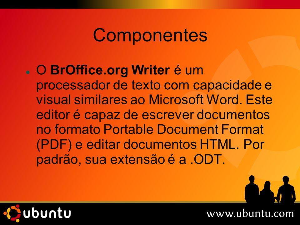 Componentes O BrOffice.org Writer é um processador de texto com capacidade e visual similares ao Microsoft Word. Este editor é capaz de escrever docum