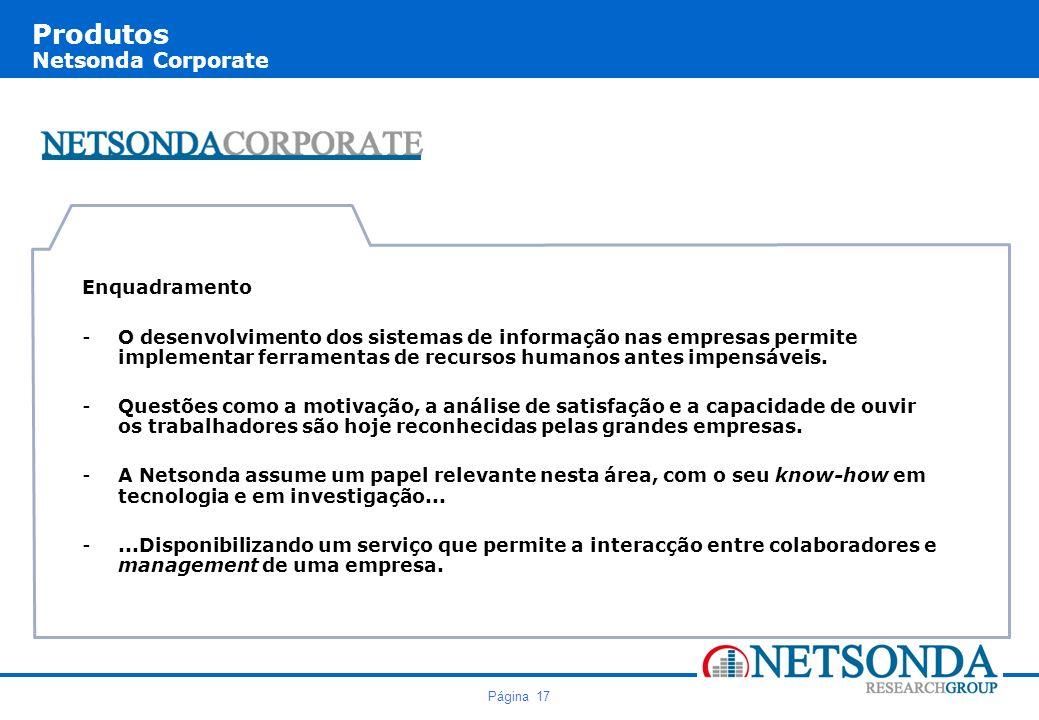 Página 17 Produtos Netsonda Corporate Enquadramento -O desenvolvimento dos sistemas de informação nas empresas permite implementar ferramentas de recursos humanos antes impensáveis.