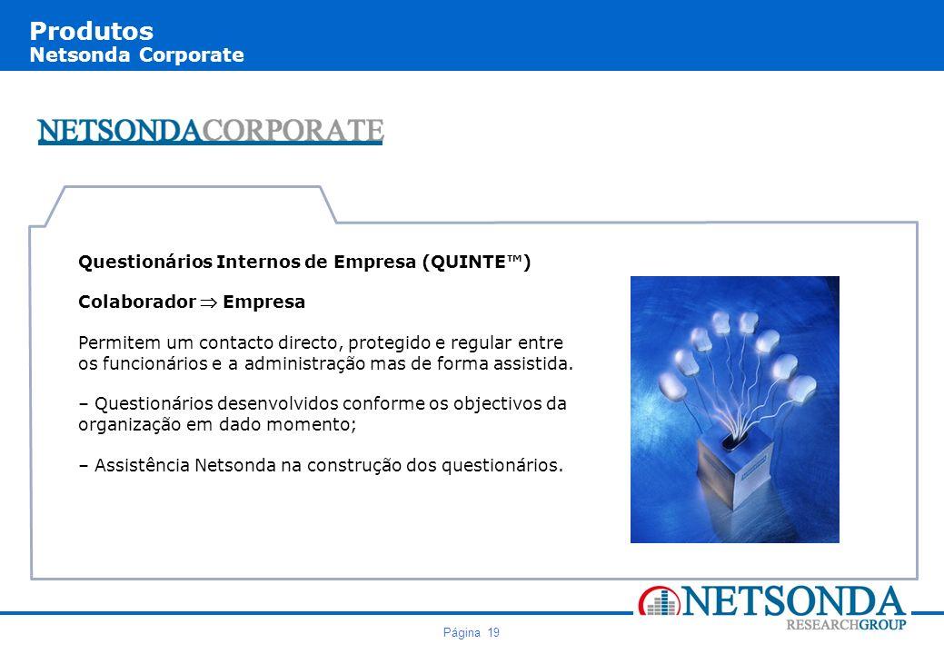 Página 19 Produtos Netsonda Corporate Questionários Internos de Empresa (QUINTE) Colaborador Empresa Permitem um contacto directo, protegido e regular entre os funcionários e a administração mas de forma assistida.