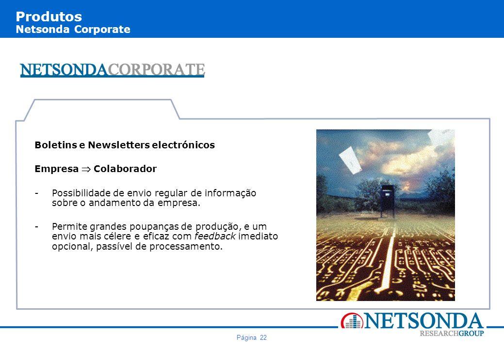 Página 22 Produtos Netsonda Corporate Boletins e Newsletters electrónicos Empresa Colaborador -Possibilidade de envio regular de informação sobre o andamento da empresa.