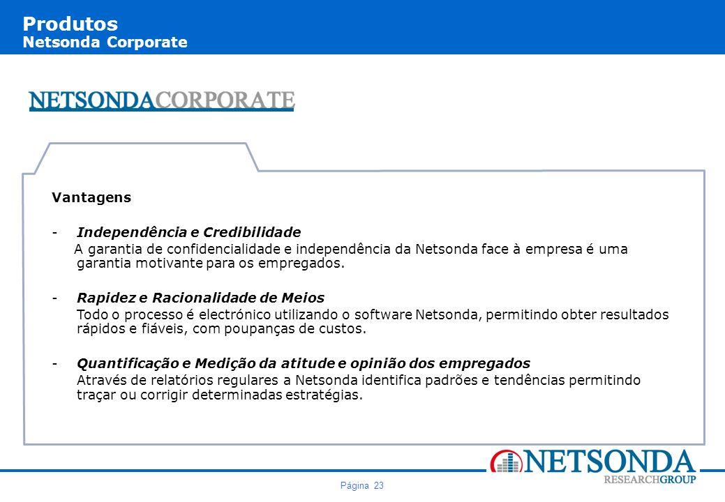 Página 23 Produtos Netsonda Corporate Vantagens -Independência e Credibilidade A garantia de confidencialidade e independência da Netsonda face à empresa é uma garantia motivante para os empregados.