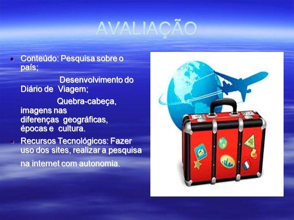 AVALIAÇÃO Conteúdo: Pesquisa sobre o país; Conteúdo: Pesquisa sobre o país; Desenvolvimento do Diário de Viagem; Desenvolvimento do Diário de Viagem;