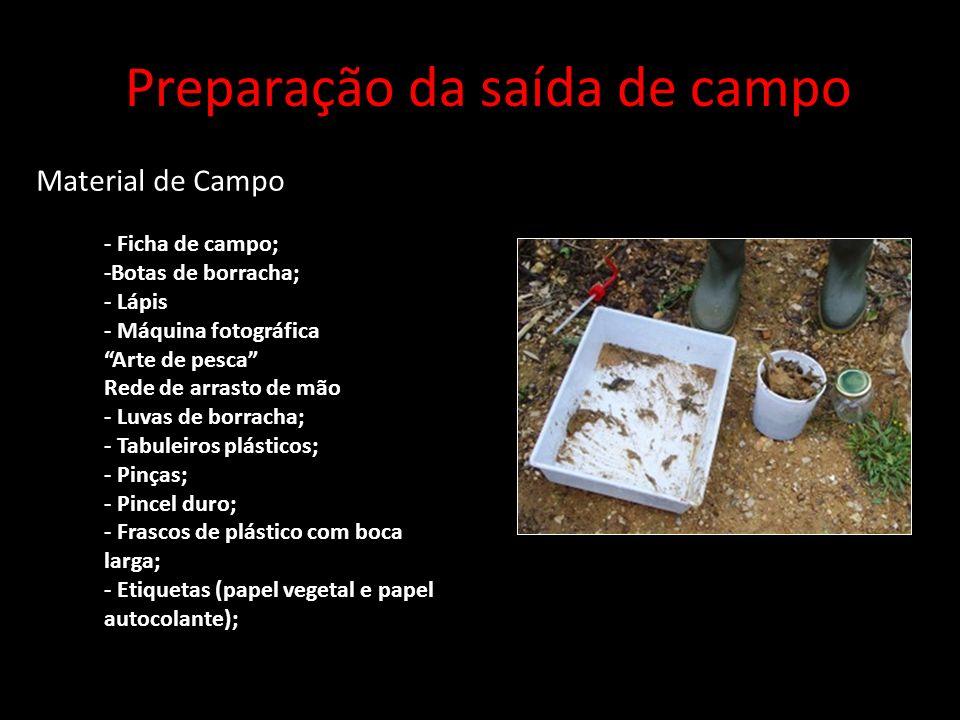 Preparação da saída de campo Material de Campo - Ficha de campo; -Botas de borracha; - Lápis - Máquina fotográfica Arte de pesca Rede de arrasto de mã