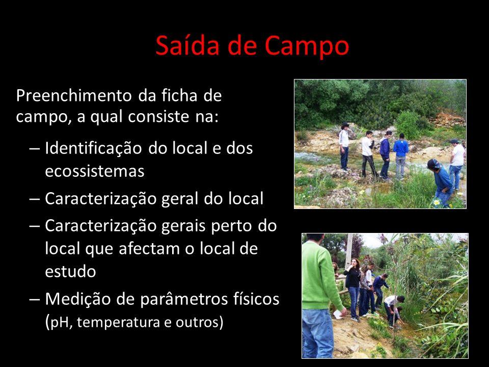 Preenchimento da ficha de campo, a qual consiste na: Saída de Campo – Identificação do local e dos ecossistemas – Caracterização geral do local – Cara