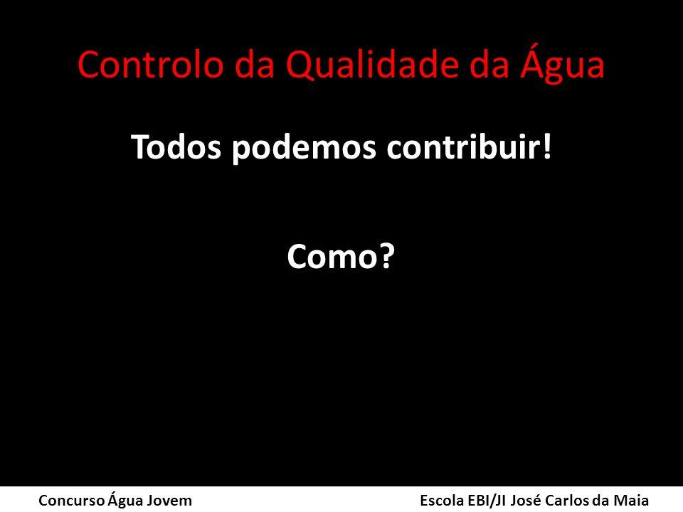 Controlo da Qualidade da Água Todos podemos contribuir! Como? Concurso Água Jovem Escola EBI/JI José Carlos da Maia