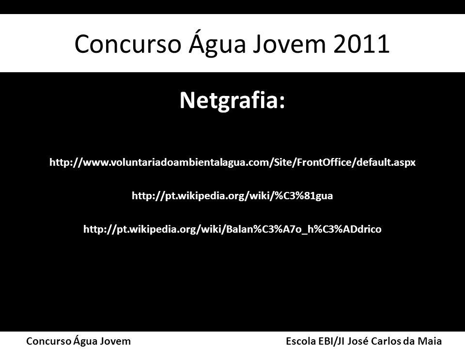 Netgrafia: http://www.voluntariadoambientalagua.com/Site/FrontOffice/default.aspx http://pt.wikipedia.org/wiki/%C3%81gua http://pt.wikipedia.org/wiki/