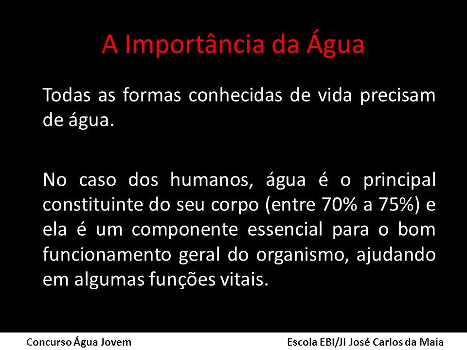 A Importância da Água Todas as formas conhecidas de vida precisam de água. No caso dos humanos, água é o principal constituinte do seu corpo (entre 70