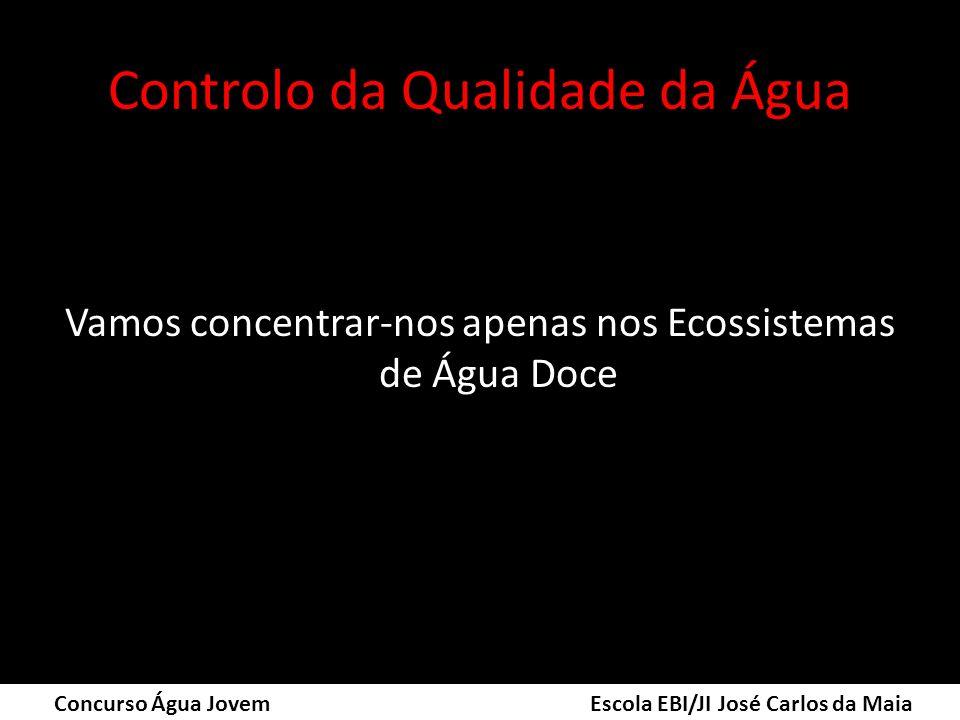 Controlo da Qualidade da Água Vamos concentrar-nos apenas nos Ecossistemas de Água Doce Concurso Água Jovem Escola EBI/JI José Carlos da Maia