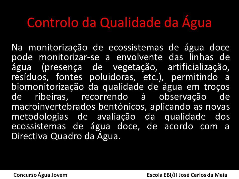 Controlo da Qualidade da Água Na monitorização de ecossistemas de água doce pode monitorizar-se a envolvente das linhas de água (presença de vegetação