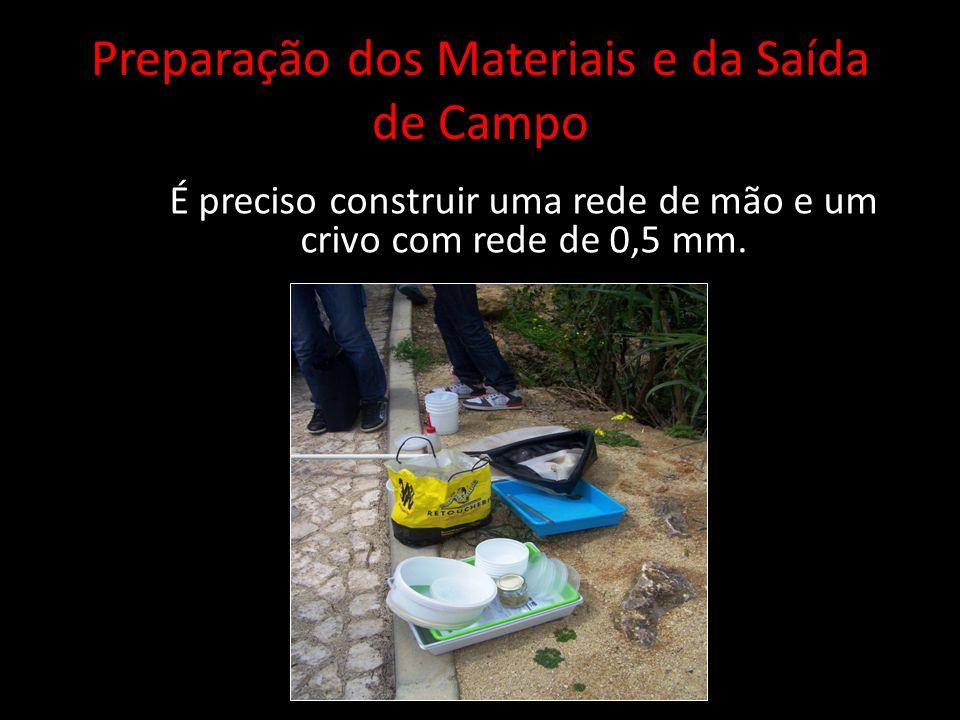 Preparação dos Materiais e da Saída de Campo É preciso construir uma rede de mão e um crivo com rede de 0,5 mm.