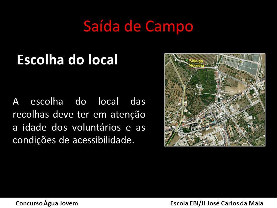 Saída de Campo Escolha do local Concurso Água Jovem Escola EBI/JI José Carlos da Maia A escolha do local das recolhas deve ter em atenção a idade dos