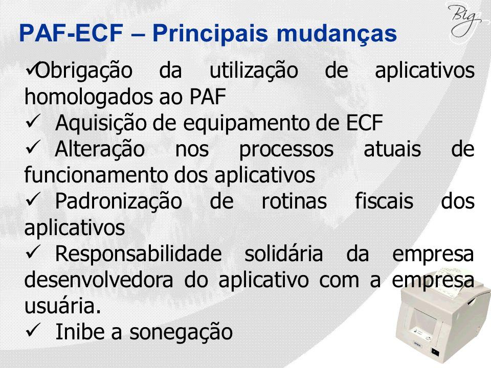 PAF-ECF – Principais mudanças Obrigação da utilização de aplicativos homologados ao PAF Aquisição de equipamento de ECF Alteração nos processos atuais