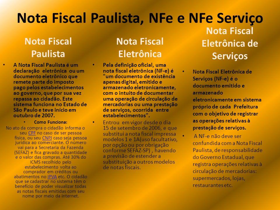 Nota Fiscal Paulista, NFe e NFe Serviço Nota Fiscal Eletrônica Pela definição oficial, uma nota fiscal eletrônica (NF-e) é